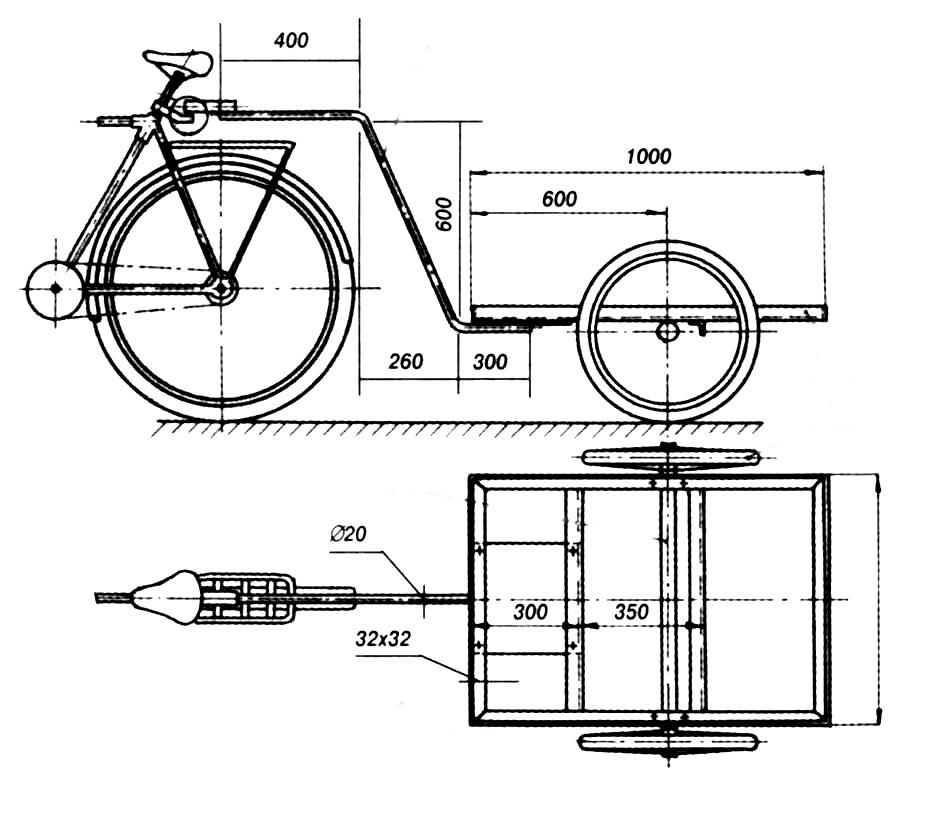 Прицеп к велосипеду чертежи